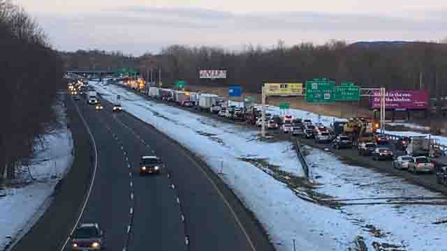 A crash involving a tractor trailer is causing heavy delays on I-91 north (WFSB)