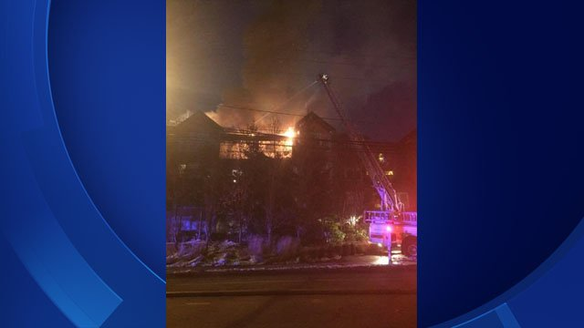 Crews are battling a fire at a condo complex in Norwalk (Norwalk Police)