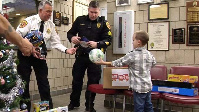 Gabe Kangas decided to donate his birthday presents to the Wolcott Police Dept.'s toy drive (WFSB)