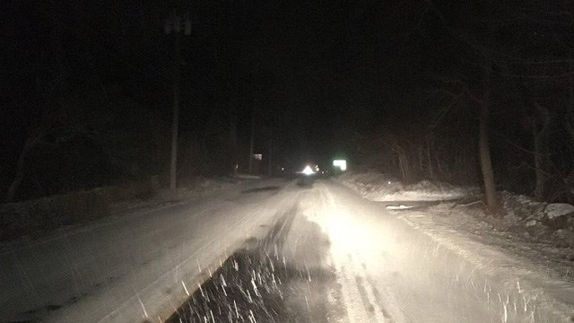 A coating of snow was seen on the roads in Killingworth around 4 a.m. on Thursday. (WFSB)