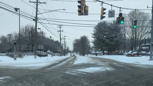 Snow-covered roads created slick conditions in Bristol on Thursday morning. (WFSB)