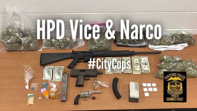 Hartford police arrested a convicted felon on multiple drug and weapons charges. (Hartford police)