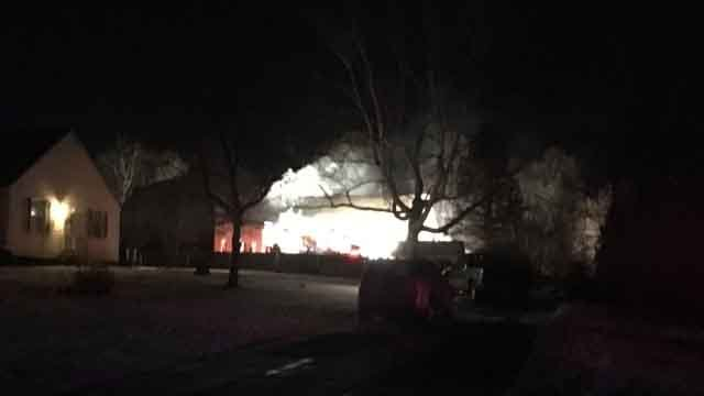 Crews are battling a fire in East Windsor (WFSB)