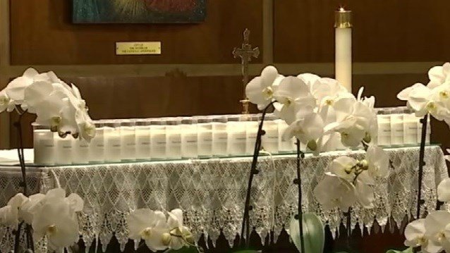 Newtown remembered the 26 victims at a church service on Thursday evening (WFSB)