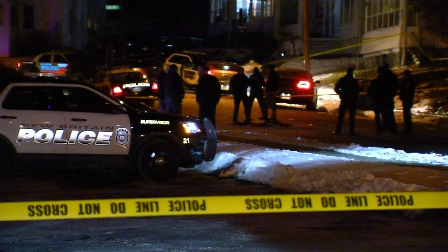 Police remained on the scene of an officer-involved shooting in New Britain on Friday morning. (WFSB)