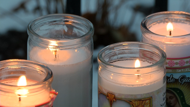Friends and family arranged candles for a man who was shot and killed y New Britain Police on Thursday night. (WFSB)