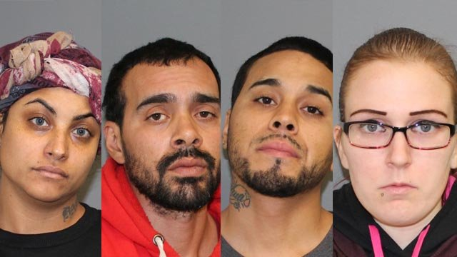 Monica Santos, Luis Torres, Juan Torres and Trisha Donaldson face charges in connection with a Walmart shoplifting incident in Shelton. (Shelton police)
