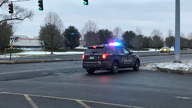 A crash has shut down Blue Hills Avenue in Bloomfield on Tuesday morning. (WFSB)