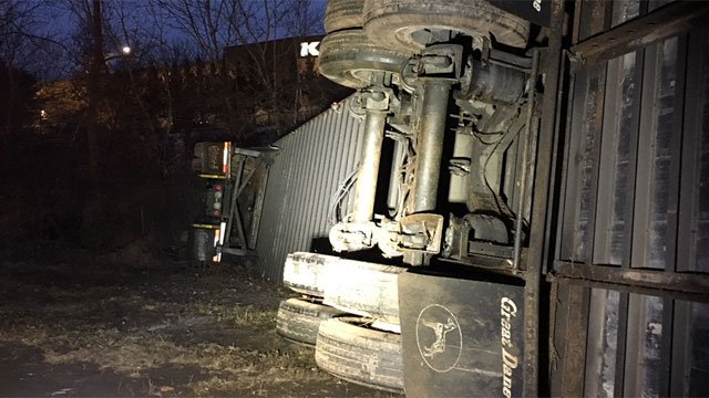 The driver of a tractor-trailer was found by state police to be at fault for a rollover crash on Interstate 84 in Manchester early Tuesday morning.  (Chief Don Moore of the Manchester Fire Department)