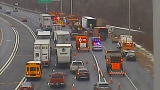 The tractor-trailer rollover caused traffic delays on I-84 in Manchester. (CT DOT)