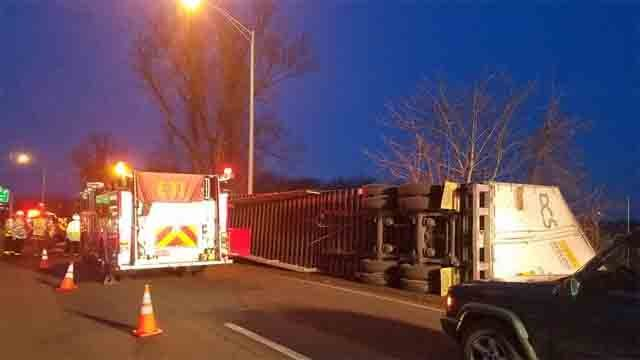 An overturned tractor trailer closed part of Route 15 north on the Hartford/Wethersfield line on Tuesday (Wethersfield Fire Dept.)