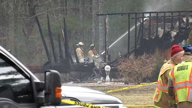 Crews worked to put out the flames in Griswold on Wednesday (WFSB)