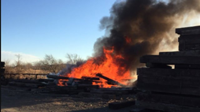 Old ties caught on fire in Hamden on Thursday morning. (Hamden Fire Department)
