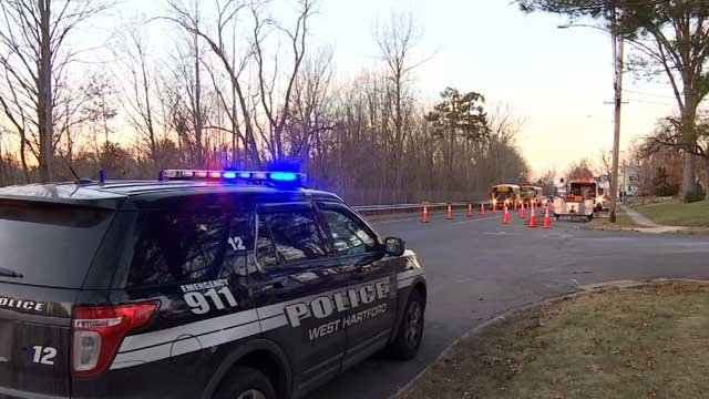 A gas leak closed a section of Troutbrook Drive in West Hartford early Thursday morning.(WFSB)