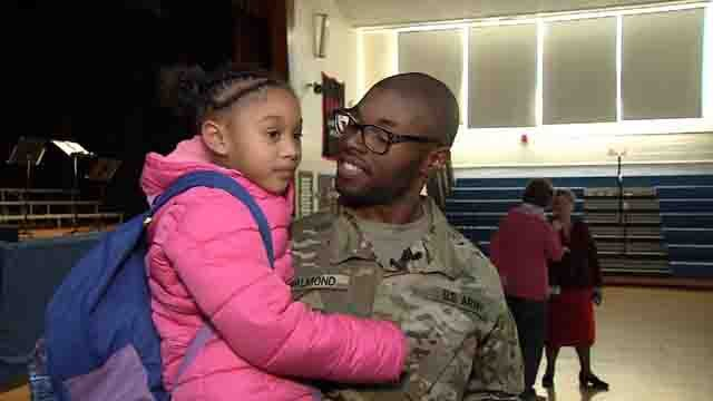This soldier surprised his daughter at school on Thursday (WFSB)