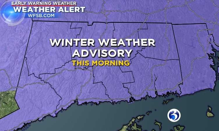 A winter weather advisory has been issued for the entire state. (WFSB)