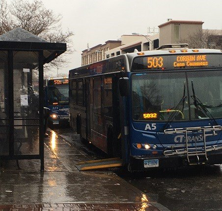 Slippery roads and sidewalks greeting bus passenges in New Britain.  (WFSB)