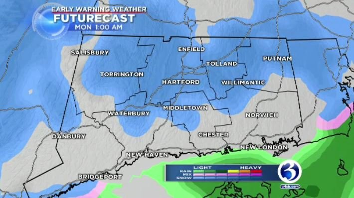Snow is expected to pick up around midnight and will last through midday on Christmas. (WFSB)