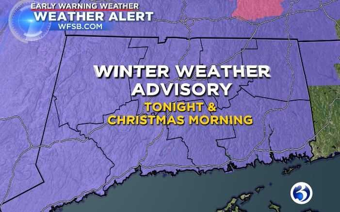 The whole state is under a winter weather advisory for tonight and through Christmasas a large part of Connecticut will possibly see a white Christmas but not all may finish with blanket of snow. (WFSB)