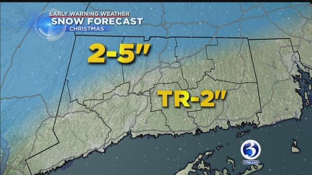 """The Hartford-metro and areas north and west will likely receive 2-5"""" of snow. (WFSB)"""