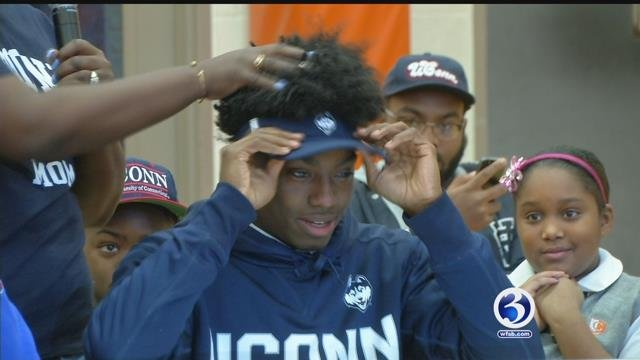 "Several Connecticut student athletes took the pen to the paper at an early ""Letters of Intent"" signing day. (WFSB)"