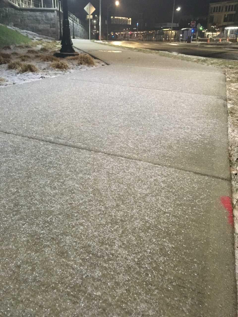 People must always be aware of their surroundings, like this icy sidewalk in Meriden. (WFSB)