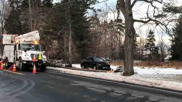 A crash took out some power lines on Monday afternoon in Windsor (WFSB)