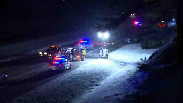 One person is dead and another was injured in a crash on Route 8 in Harwinton (WFSB)