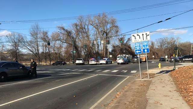 Crews were called to a crash in New Haven on Tuesday (WFSB)