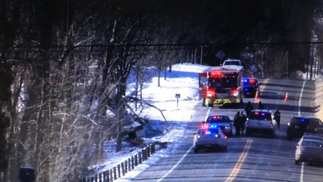 A tractor trailer crashed in Somers on Thursday, closing Route 190 (WFSB)