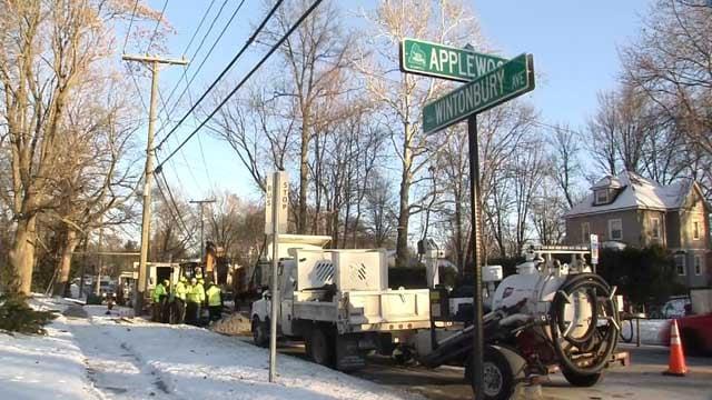 Crews are working to repair a water main break in Bloomfield (WFSB)