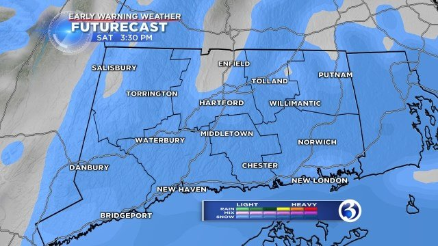 Early Warning Weather Futurecast shows most of the state getting snowfall later on today.  (WFSB)