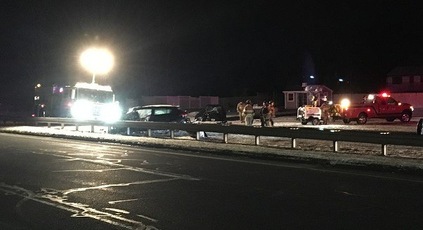 Southbound lanes of the Berlin Turnpike remain closed in Berlin near Sage Park.  (WFSB)