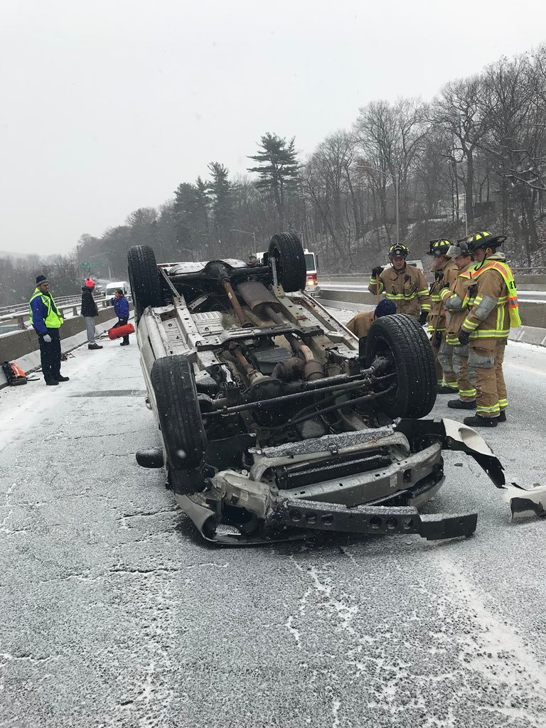 Rollover on Route 8 in Naugatuck (CT State Police)