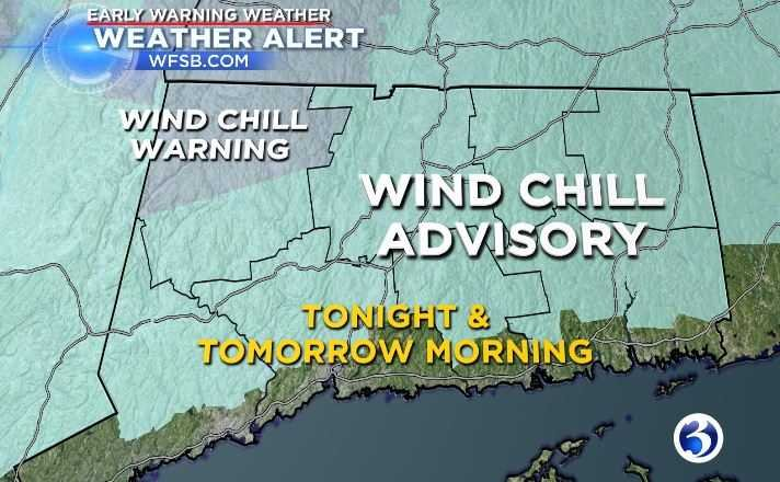 """MeteorologistMike Cameron said that """"thealert is in placefor tonight and tomorrow morningdue to wind chill advisories that cover most of the state along with a wind chill warning that is in effect fornorthern LitchfieldCounty.""""(WFSB)"""