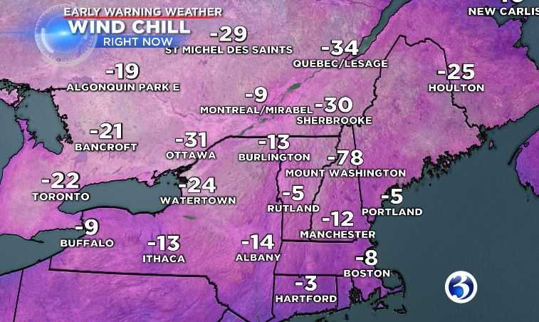 """Cameron warns to """"dress for Siberia"""" if you plan on being outside for New Year's Eve festivities, as the wind chill will drop the temperature even further down to the -5 to -25 range.(WFSB)"""