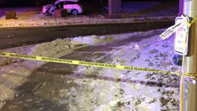 A fatal crash damaged a column near Trinity College (WFSB).