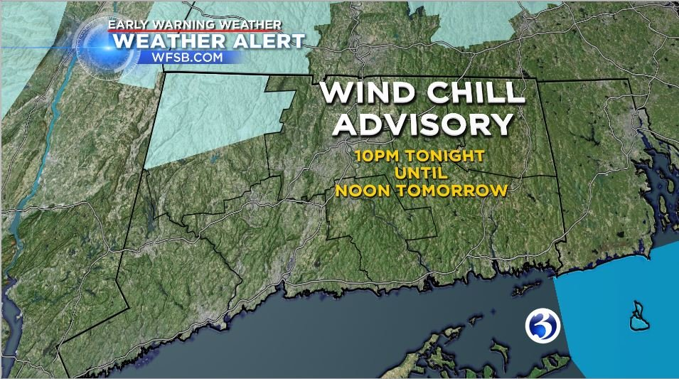 A wind chill advisory has been extended for Northern Litchfield County for tonight and tomorrow morning.  (WFSB)