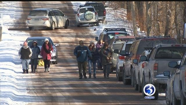 "About a dozen people  forged on during the ""First Day Hike"" at Scantic River in East Windsor. (WFSB)"