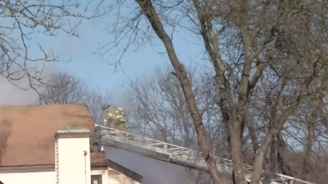 Firefighters are on the scene of an apartment complex fire in Simsbury on Tuesday morning. (WFSB)