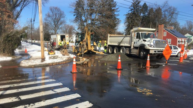 The water main break was reported onWebster HillBoulevard near theWebster Hill Elementary School on Tuesday morning. (WFSB)