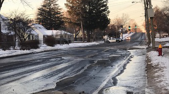 A water main break on Tower Avenue in Hartford affected traffic and cancelled classes at a school. (WFSB)