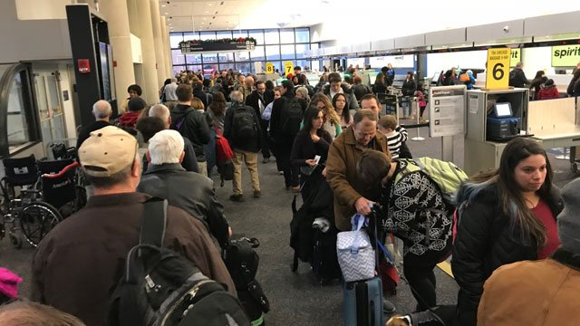 Security line wraps around entire Bradley Airport on Wednesday. (Contributed photo)