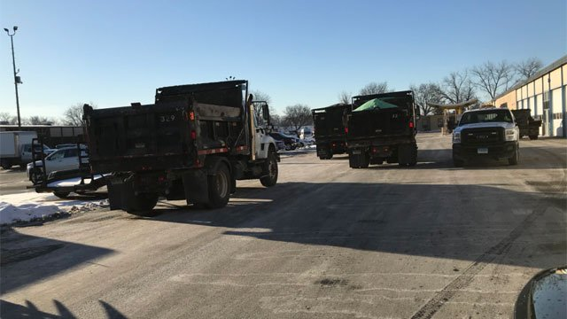 Department of Public Works Crews were getting ready for Winter Storm Brody on Wednesday. (LtFoley)