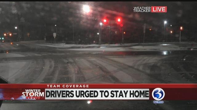 Snow began coating the roads in New Haven by 6 a.m. on Thursday. (WFSB)