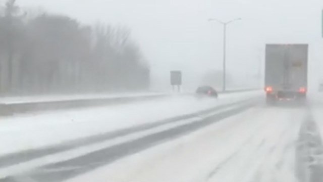 Road conditions worsened in Enfield as the storm continued Thursday morning. (WFSB)