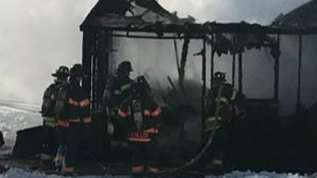Danbury firefighters responded to a shed fire on Jackson Drive on Friday. (Danbury Fire Dept.)