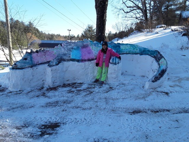 7yr old Ellie McNaughton from Marlborough poses with her snow lizard (Contributed).
