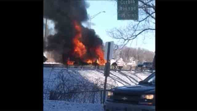 A truck caught fire on Route 72 in New Britain on Sunday (Bryan Russell Anderson)