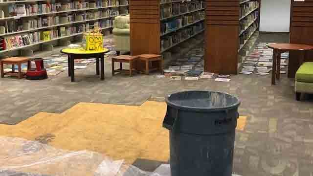 Damage was caused at the Burlington Public Library after a pipe burst (Burlington Library)